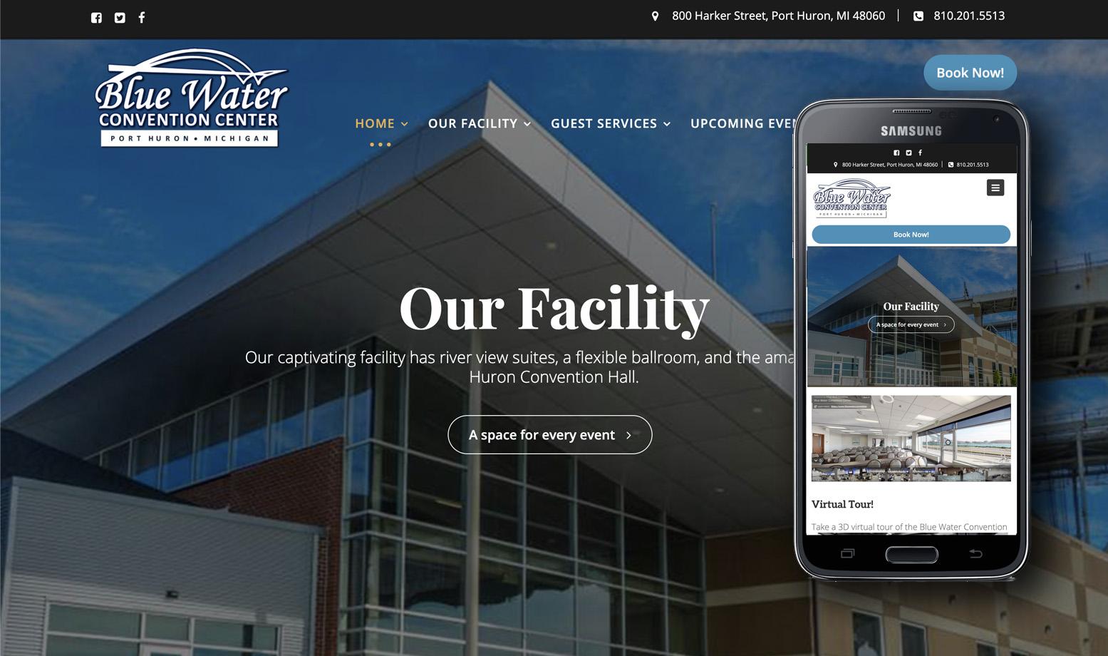 website design event venues, halls, convention centers